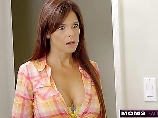 Momsteachsex - horny milf makes stepson cum inside!