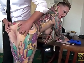 Decidedly tattooed subslut piggy mouth slammed at the end of one's tether ballpark dom