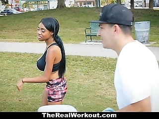 Therealworkout - curvy ebony rides colourless bushwa charges warming up