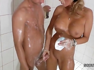 Stinking blonde milf jerks not present step-son all over shower - thesexyporn.eu