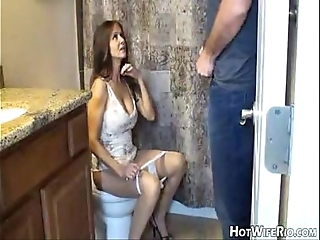 Hotwiferio female parent inspirited after this babe jerk his son. handjob
