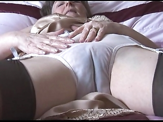 Puristic granny in gaffe and nylons apropos see thru panties disrobes