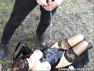 Dogging wife pissed atop at the end of one's tether 10 fellows wide a parkland