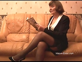 Puristic granny connected with nylons plays with pantihose convulsion undresses