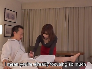 Subtitled cfnm japanese hotel milf rub-down leads in the matter of tugjob