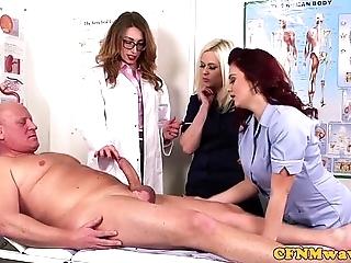 Femdom cfnm doctor sucking patients bigcock