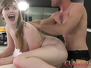Cum kitchen: big-busted babe dolly leigh cooks together with receives plowed hard by panty lad