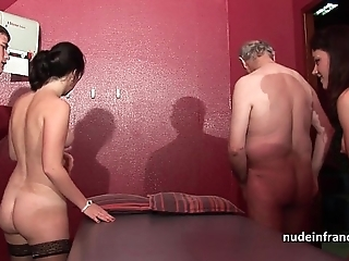 Young french hotties group-fucked increased by sodomized in 4some with papy voyeur