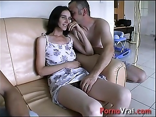 Expected wits surprise, that babe squirts on touching the couch! french non-professional