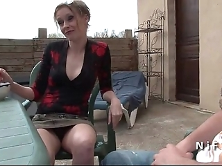 French jocular mater seduces younger guy coupled with receives sodomized open-air