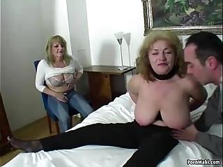 Random cadger copulates three dazzling grannies