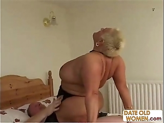 Bbw elderly trull ridding
