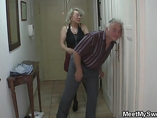 That guy finds his jocular mater together with dad fucking his gf