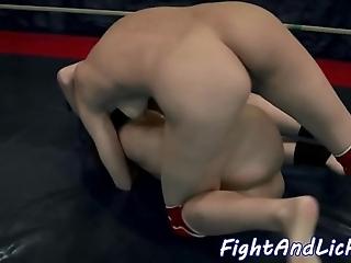 Dyke tot dong having it away a wrestling beauty