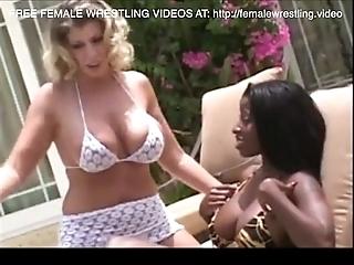 Interracial ginger beer wrestling catfight